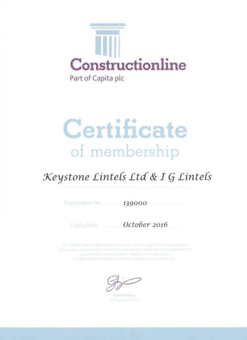 Constructionline Certificate Keystone Lintels