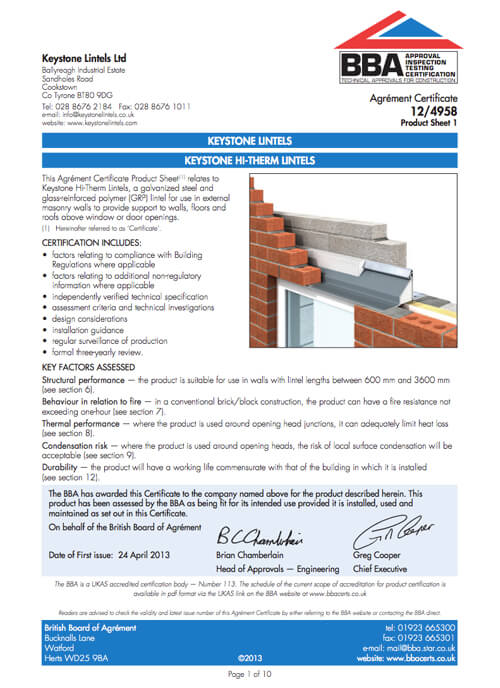 Hi-therm BBA Certificate