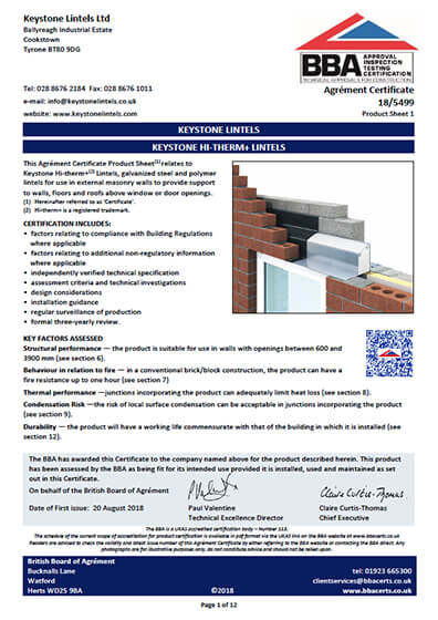 Hi-therm+ BBA Certificate