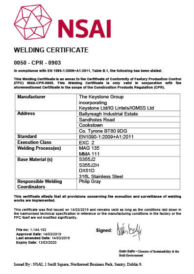 NSAI Certificate of Conformity Welding