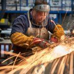 welder, keystone lintels, sparks, steel lintels, factory