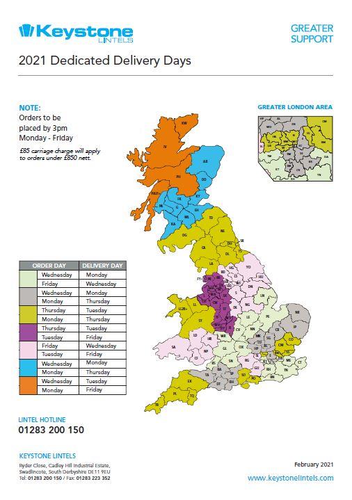 Keystone Lintels Delivery Map