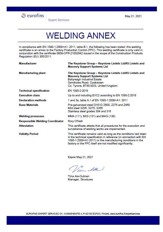 Eurofin Certificate of Conformity Welding