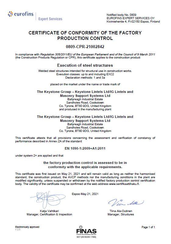 NSAI Certificate of Conformity